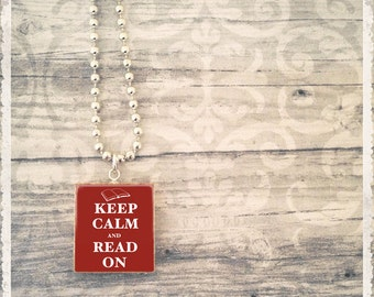 Scrabble Jewelry - Keep Calm Read On Red - Scrabble Necklace Game Tile Pendant
