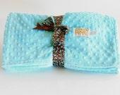 Baby Blanket Turquoise Blue Minky Dot Unisex