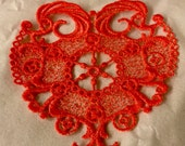 Coral Free Standing Lace Applique Embroidered   - SunCatcher