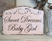 SWEET DREAMS, Sweet Dreams Sign, BLUSH Pink, Sweet Dreams Baby Girl,  Baby Signs, Nursery Signs, 13 x 9