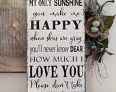 READY to SHIP, You are my SUNSHINE, Sunshine Signs, Family Signs, Baby Signs, Wedding Signs, 24 x 12