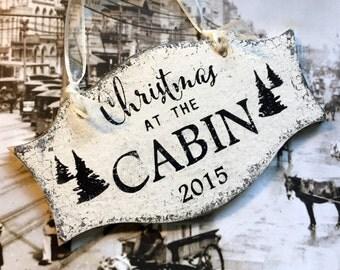 CHRISTMAS ORNAMENT, CABIN Ornament, 2015 Christmas Ornaments, Wood Ornaments, 3 1/4 x 5 1/2