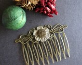 Sunflower Hair Comb, Nature Inspired, Victorian Hair Comb, Bohemian Hair Comb, Boho, Woodland, Hair Accessory, Filigree Comb