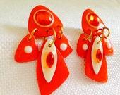 Vintage 1980's Mam' Designs Shiny Orange & White Geometric Abstract Big Post Earrings