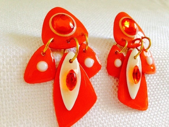 mam earrings orange vintage 1980 s mam designs shiny orange 4290