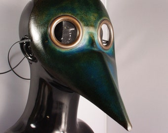 Midi Dark Blue Doctor Plague Leather Mask - Costume Party, Halloween