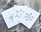 Seashell snowflakes - 3 sets of notecards (15 cards) - shell art, seashells, beach stones, sea glass