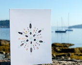 Seashell Snowflake Notecards - package of 5 -  shell art, beach stones, sea glass, green, aqua, black