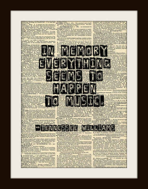 """Art Print TENNESSEE WILLIAMS """"In memory everything...""""  8x10 Dictionary Gold Gilded Vintage Page"""