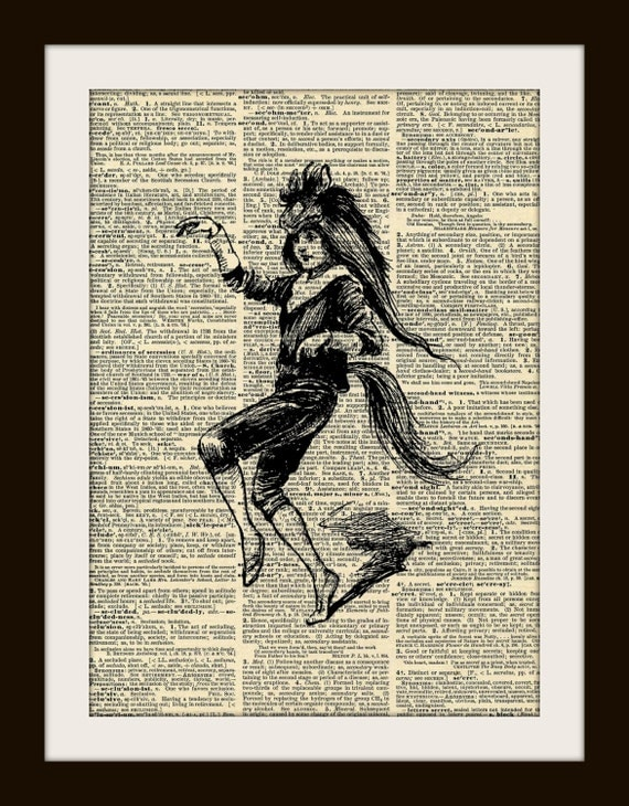 Art Print PONY BOY 8x10 Dictionary Gold Gilded Vintage Page