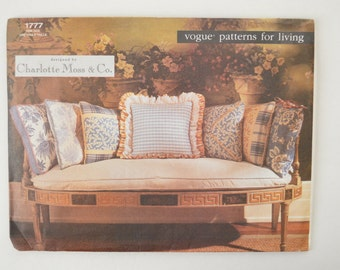 1990s UNCUT Vogue Charlotte Moss Sewing Pattern 1777 Square Pillows & Pillow Covers