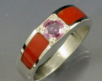 Natural Pink Sapphire Set in Sterling Silver Band with Inlay Red Coral