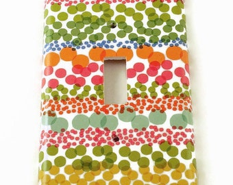 Single Switch Plate Light Switch Cover in Watercolor Dots   (085S)
