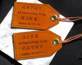 His and Hers, adventuring with..., since - leather luggage tags - set of two