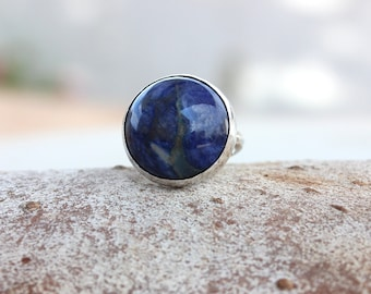 Natural Sodalite ring, Blue ring, Blue Sodalite silver ring, Round Gemstone ring, Sodalite silver jewelry, sodalite ring