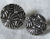 Set of 2 VINTAGE Silver Lustered Clear Glass Fan Design BUTTONS