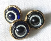 Lot of 3 Small Antique Bulls Eye Ring Glass Waistcoat BUTTONS