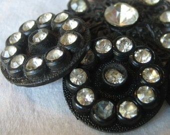 Set of 3 & 1 VINTAGE Rhinestone in Black Metal and Plastic BUTTONS