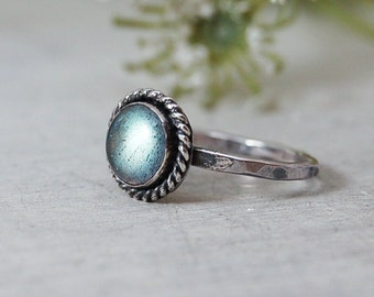 Labradorite Ring Dainty Round Flashy Sterling Silver Ring