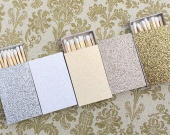 10 Matchbox Wedding Favors - White Cream Silver Gold Diamond Champagne