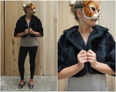 Short Vintage 50's Cropped Black Faux Fur Shrug Jacket with 3/4 Sleeves by Winter | Small Medium