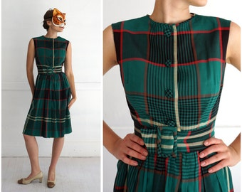 Vintage 1950s Green and Red Plaid Belted Sleeveless Holiday Party Dress by Tiktiner | Small
