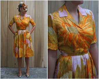 Vibrant Vintage 50's/60's Sunflower Shirtwaist Dress in Orange Yellow and Pink with Pockets by Marie Leavell, Holly Hoelscher | Small/Medium