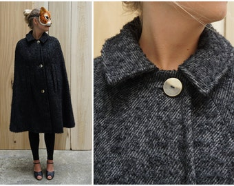 Dramatic Vintage 60's/70's Black and Grey Fuzzy Textured Wool Cape with High Neck and Peter Pan Collar | XS Small Medium Large XL