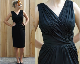 Vintage 50's/60's Black Cocktail Wiggle Dress with Ruched and Pleated Draping by I.Magnin | Small Medium
