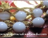 Vintage Monet Necklace with Woven Chain and Milk Glass Beads Signed