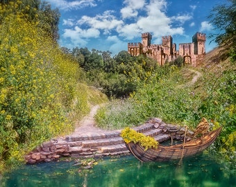 Fantasy composited castle and boat background for your scrapbooking of digital photo projects
