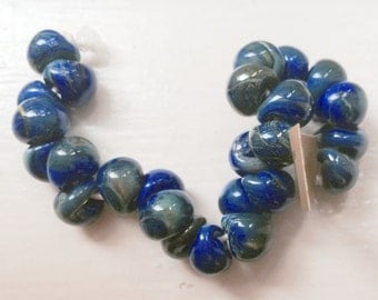 10 Midnight Sky Teardrop Handmade Lampwork Beads - 13mm (22810)