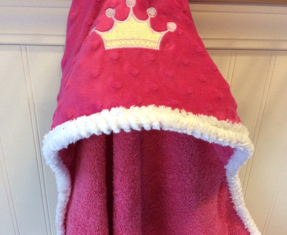 Baby-Hooded-Towels-PRINCESS-Embroidery-Crown-Pink-Girls-Bath-Towel-Minky Dot-Savvy Baby Goodies-Terry-Cover-Up-Holiday-Wash Cloth-Gift Set