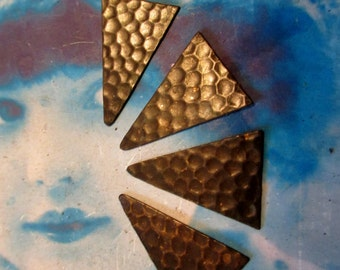 Hand Oxidized Patina Brass Triangle Hammered Drops 2000HOX  x4
