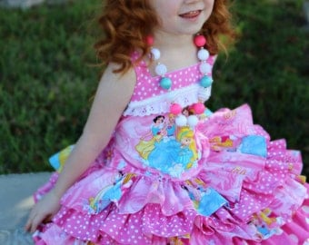 Made to Order Custom Boutique Disney Princess Pink Ruffle Dress Girl 2 3 4 5 6