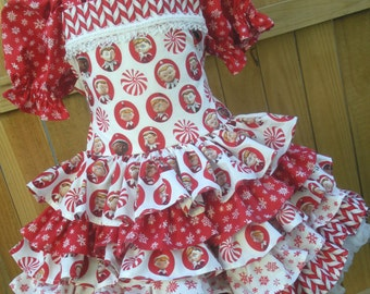 Ready to Ship Custom Boutique Elf on the Shelf Ruffled Dress Girl Size 4 5 or Slim 6 RTS