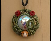 Baby Guinea Pig & Rose Garden Sculpted Pendant Polymer Clay Jewelry Orange White Olive Green Leaves Nature Fairy Tale Fantasy Cavy Red Roses