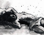 Ink drawing on canvas A4 - resting nude girl