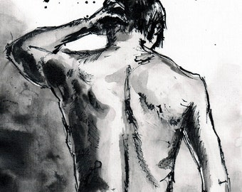 8x12 watercolor painting on canvas A4 (20x30cm) - nude man from back - ver 3