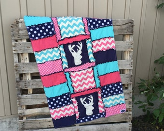 Pink Woodland Crib Blanket Baby Crib Bedding - Navy Blue Quilt Girl Crib Bedding - Turquoise Deer Baby Blanket Baby Girl Quilt Ready to Ship