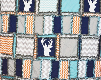 Woodland Boy Bedding Twin Size With Deer Silhouette in Turquoise, Orange, Gray, and Navy Blue - Twin Boy Bed - Hunting Boys Bedroom Quilt