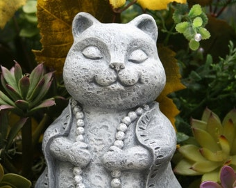 Cat Buddha Statue - Meditation Fat Cat - Zen Cat - Concrete Garden Art