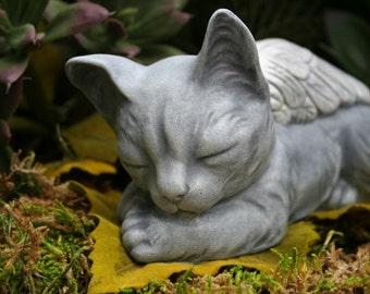 Cat Angel Statue - Pet Memorial - Sleeping Cat Sculpture - Concrete Garden Art