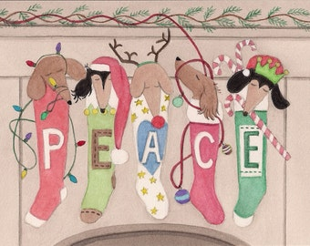 Christmas cards: Dachshunds (doxies) hung by the chimney with care / Lynch folk art