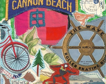 Stormy Day at the BEACH --Vintage 1953  -- Surfer Bicycle Dog Skate Rink -- Fabric Collage Art    // my bonny cannon beach