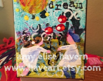 Dream original small collage painting with stand  3x4