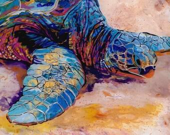 Turtle at Poipu Beach 6-  8x8 Giclee Print - Hawaiian Honu - Whimsical Art - Kids Wall Art - Turtle Painting - Hawaii ocean art - Sea Turtle