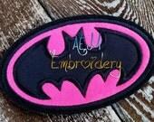 Batman Applique Logo Patch Hot Pink Black Thread