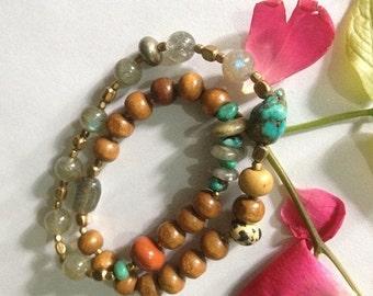 ON SALE Shamanic Sandalwood Infinity Yoga Wrap Bracelet