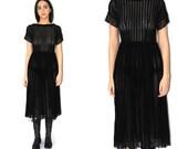 1940s black crepe dress 40s vintage sheer black lace R& K originals LBD little black dress small